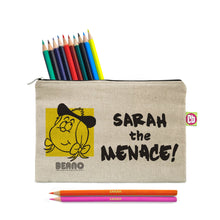 Load image into Gallery viewer, Personalised Beano Big Heads Minnie Pencil Case & Pencils