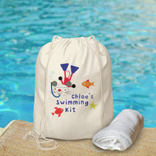 Load image into Gallery viewer, Personalised Arty Mouse Swimming Bag