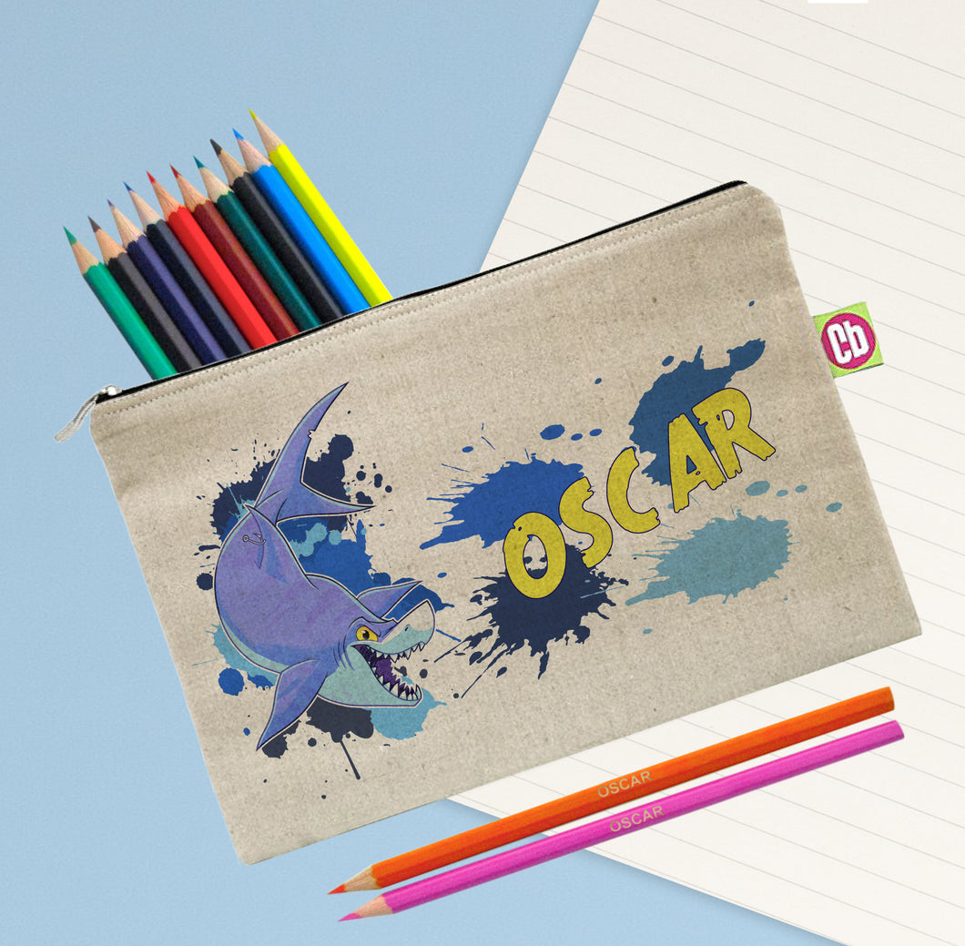 Personalised Underwater Adventure Shark Pencil Case & Pencils