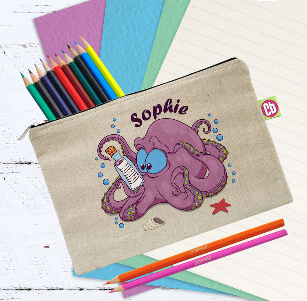 Personalised Underwater Adventure Octopus Pencil Case & Pencils