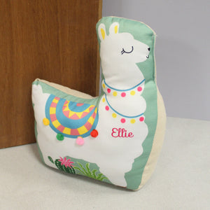 Personalised Green Llama Door Stop