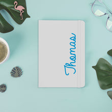 Load image into Gallery viewer, Personalised Blue Name White A5 Notebook