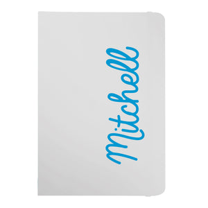 Personalised Blue Name White A5 Notebook