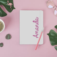 Load image into Gallery viewer, Personalised Pink Name White A5 Notebook