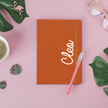 Load image into Gallery viewer, Personalised White Name Orange A5 Notebook