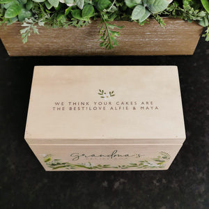Personalised Wooden Floral Recipe Box