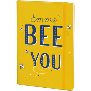 Personalised Bee You Yellow A5 Notebook