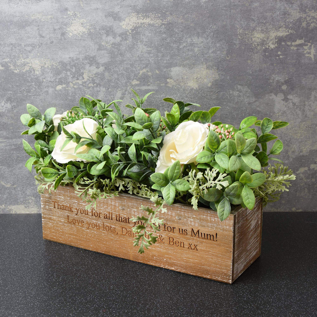 Personalised Wooden Artificial Flower Box