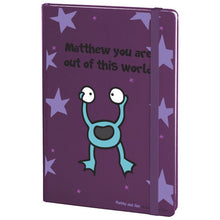 Load image into Gallery viewer, Personalised Cosmic Alien Purple A5 Notebook
