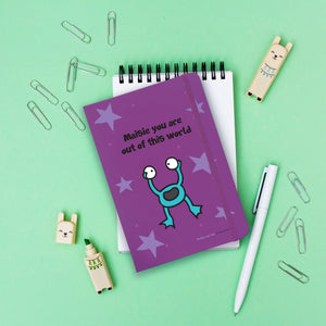 Personalised Cosmic Alien Purple A5 Notebook