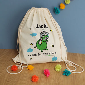 Personalised Cosmic Dinosaur Drawstring Bag