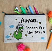 Load image into Gallery viewer, Personalised Cosmic Dinosaur Pencil Case