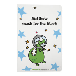 Personalised Cosmic Dinosaur White Notebook