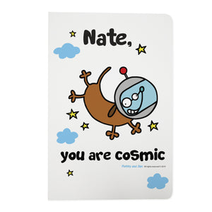 Personalised Cosmic Kitty White A5 Notebook