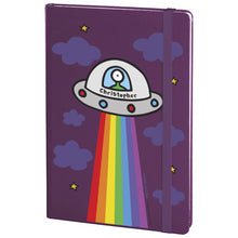 Load image into Gallery viewer, Personalised Cosmic Spaceship Purple A5 Notebook