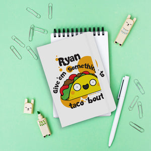 Personalised Taco White A5 Notebook