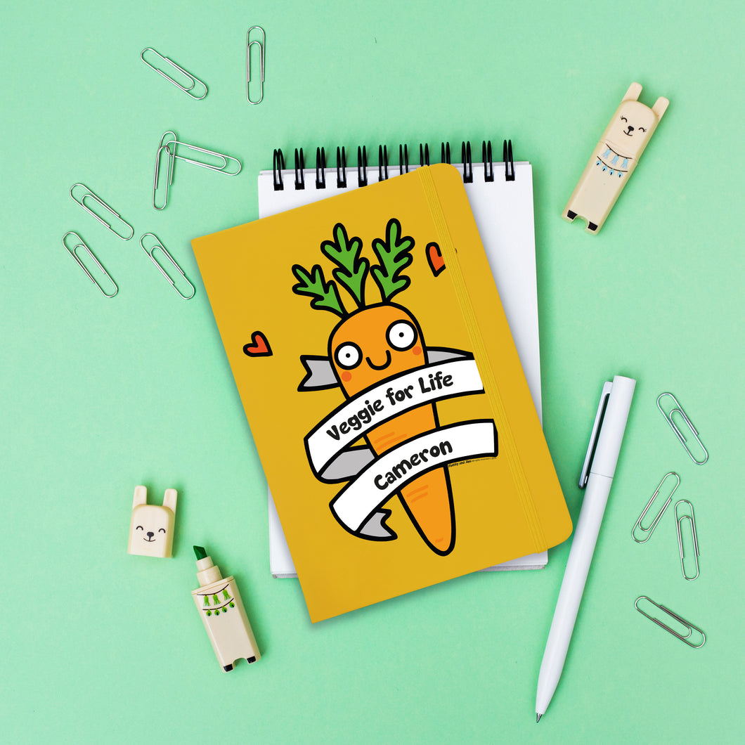 Personalised Veggie For Life Yellow Notebook