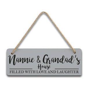 Personalised Filled With Love & Laughter Hanging Sign