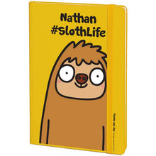 Load image into Gallery viewer, Personalised #SlothLife Yellow Notebook