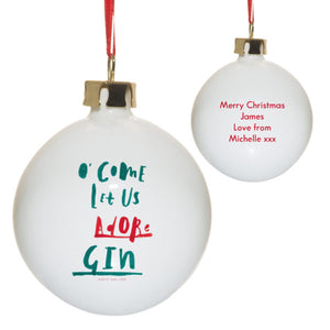 Personalised Come Let Us Adore Gin Christmas Tree Bauble