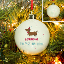 Load image into Gallery viewer, Personalised Dachshund Through The Snow Bauble