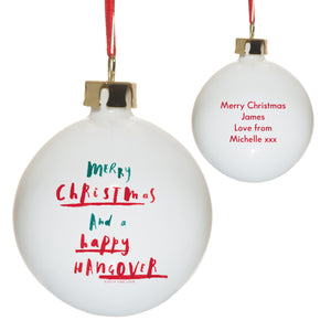 Personalised Happy Hangover Bauble