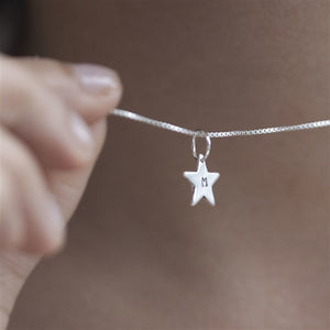 Sterling Silver Personalised Initial Star Pendant Necklace