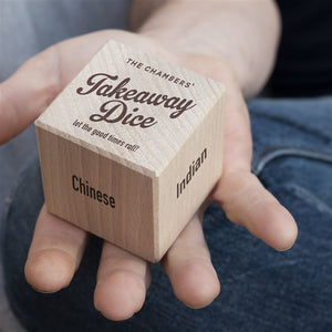 Personalised Wooden Take Away Dice