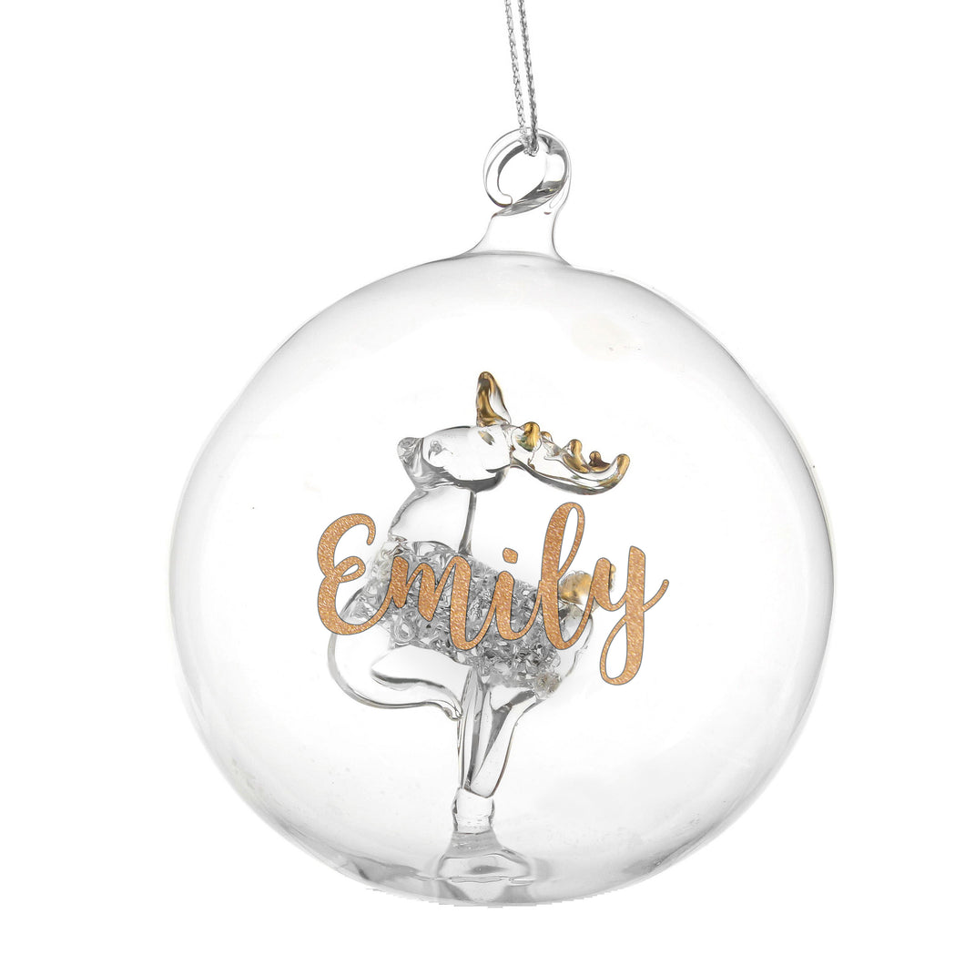 Personalised Gold Glitter Name Reindeer Glass Bauble