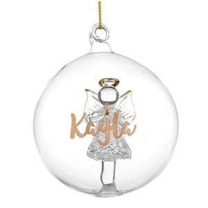 Personalised Gold Glitter Name Angel Glass Bauble