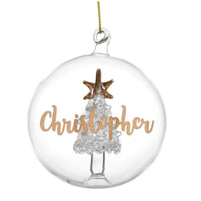 Load image into Gallery viewer, Personalised Gold Glitter Name Christmas Tree Glass Bauble