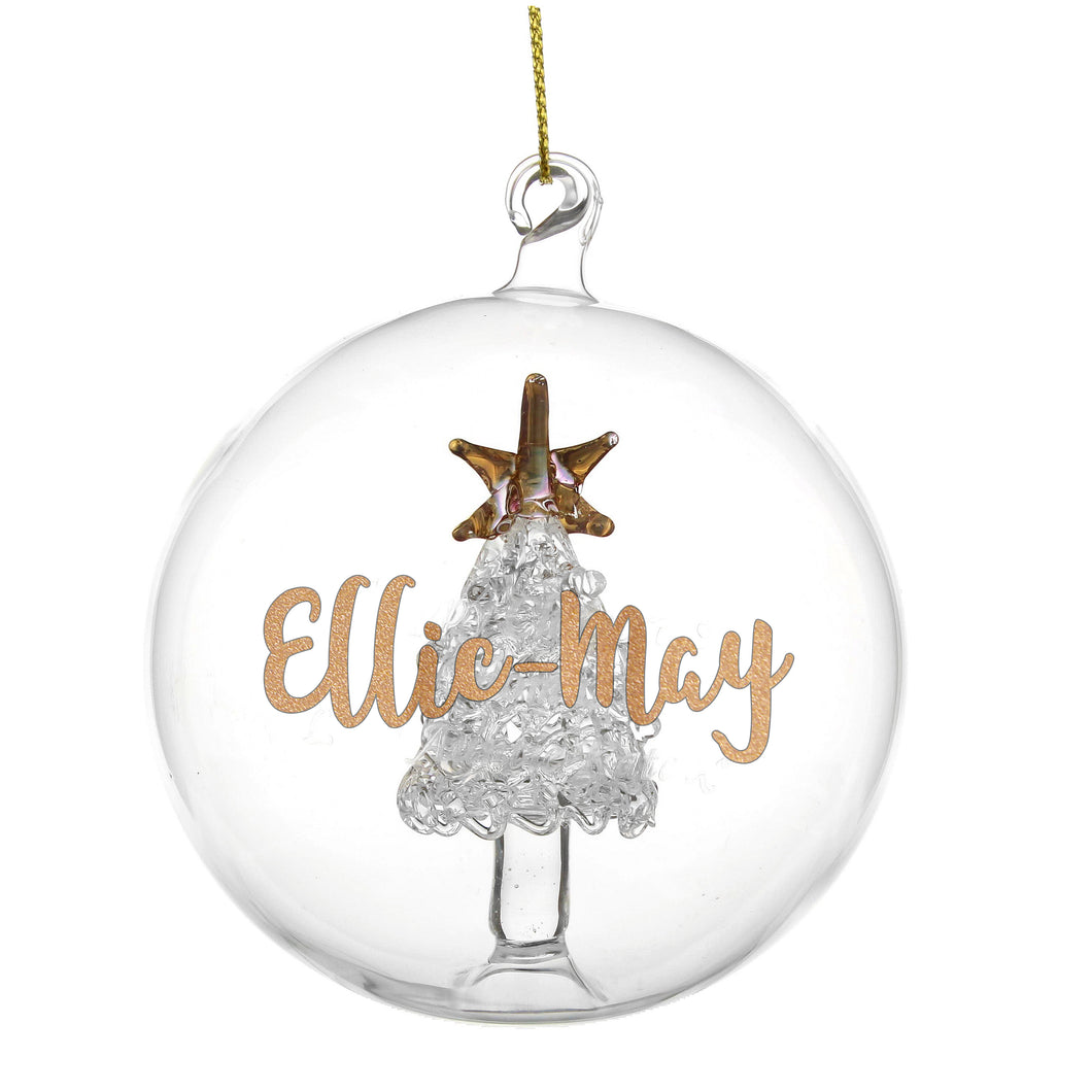 Personalised Gold Glitter Name Christmas Tree Glass Bauble