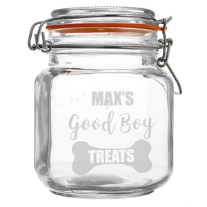 Personalised Good Boy Treats Glass Kilner Jar