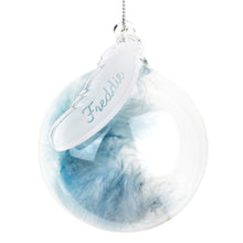 Load image into Gallery viewer, Personalised Blue Feather Glass Bauble