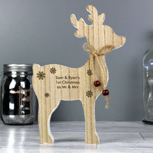 Load image into Gallery viewer, Personalised Rustic Wooden Reindeer Decoration