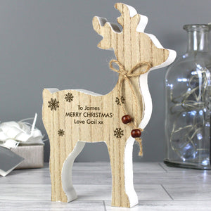 Personalised Rustic Wooden Reindeer Decoration