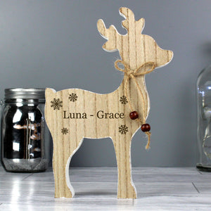 Personalised Name Rustic Wooden Reindeer Decoration