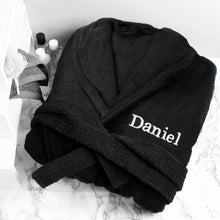 Load image into Gallery viewer, Personalised Unisex Black Dressing Gown