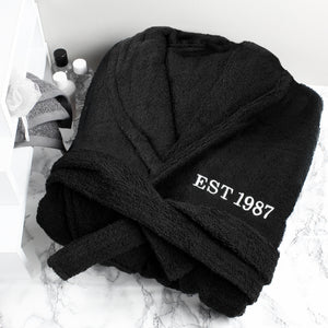 Personalised Unisex Black Dressing Gown