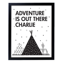 Load image into Gallery viewer, Personalised Framed Adventure Is Out There Black Framed Print