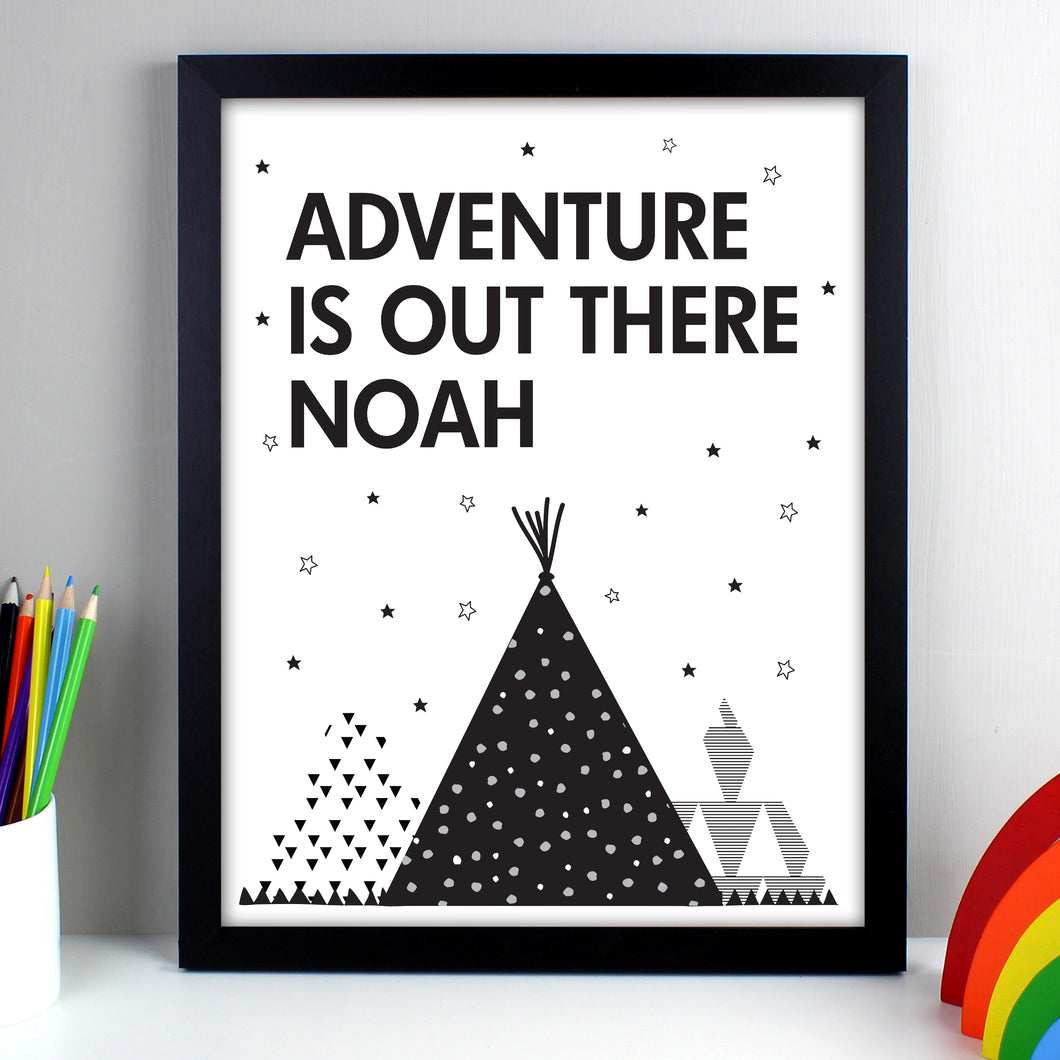 Personalised Framed Adventure Is Out There Black Framed Print