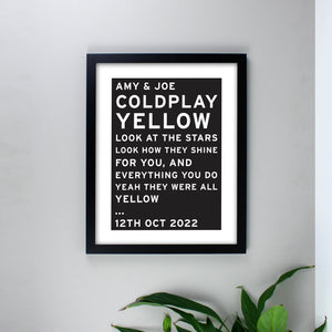 Personalised Typography Black Framed Print