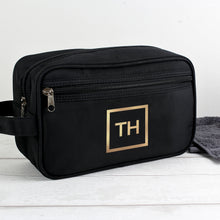 Load image into Gallery viewer, Personalised Gold Initials Black Vanity Bag