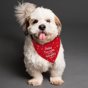 "Personalised ""Too cute for the naughty list"" Dog Christmas Bandana"