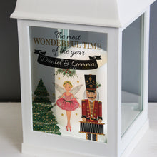 Load image into Gallery viewer, Personalised Nutcracker Christmas White Lantern