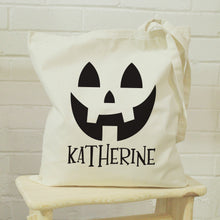 Load image into Gallery viewer, Personalised Pumpkin Halloween Treats Tote Bag