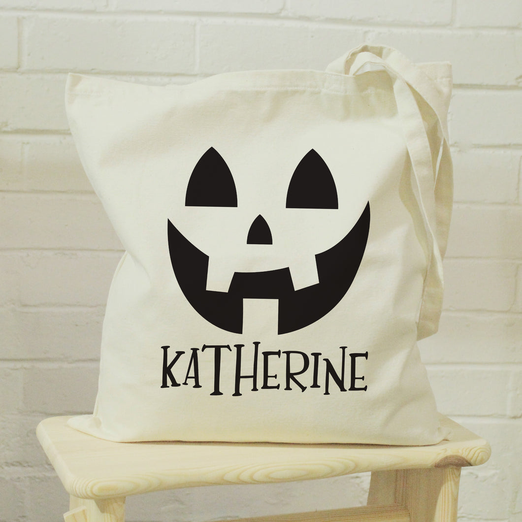 Personalised Pumpkin Halloween Treats Tote Bag