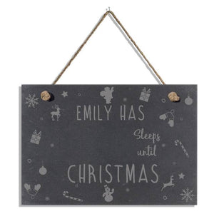 Personalised Sleeps Until Xmas Slate Hanging Sign
