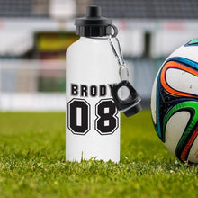 Load image into Gallery viewer, Personalised Sports Number White Drinks Bottle