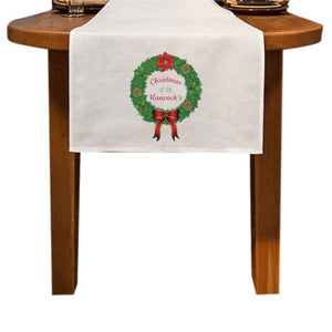 Personalised Traditional Christmas Wreath Table Runner